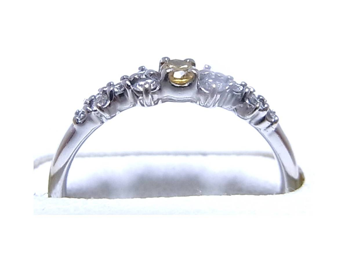 《ジュエリー》K18WG 天然イエローダイヤモンド(鑑定済)付きリング 11号 美しく希少な黄色のカラーダイヤ0.20ct_画像4