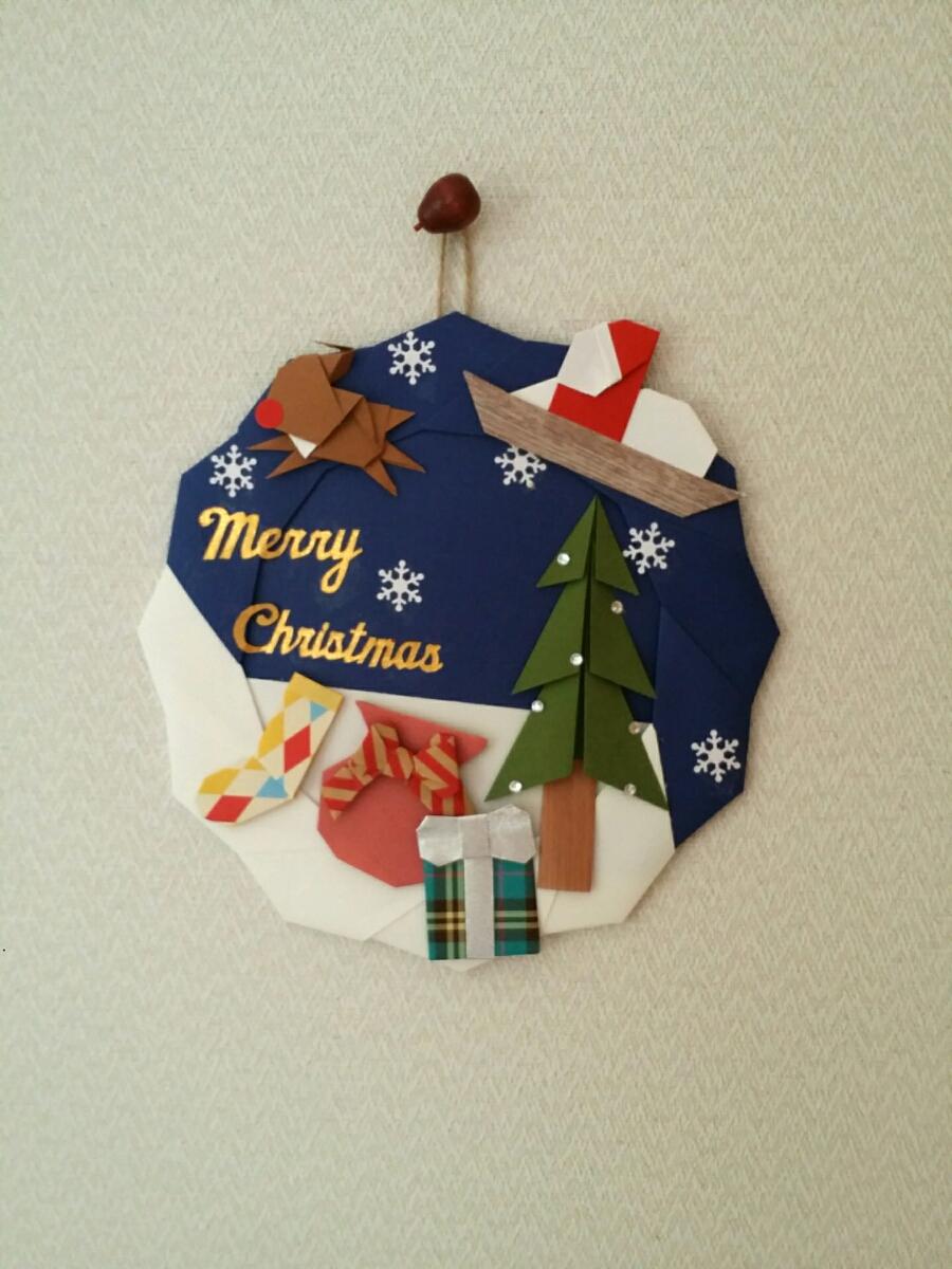 折り紙 リース 冬 クリスマス 壁面飾り 保育園 施設
