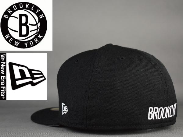 【BROOKLYN NETS×NEWERA】C424 キャップ 帽子 黒 未使用 7-1/2サイズ(59.6cm) フラットバイザー NBA バスケットボール 59FIFTY_画像3