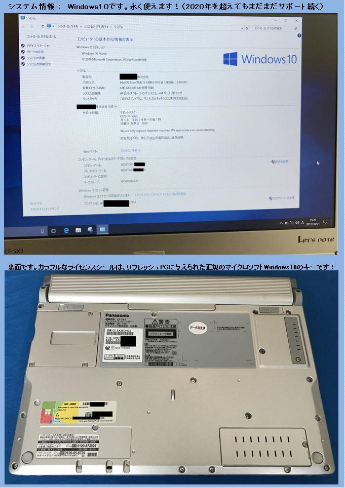 OSはWindows10 64bit、PC背面図