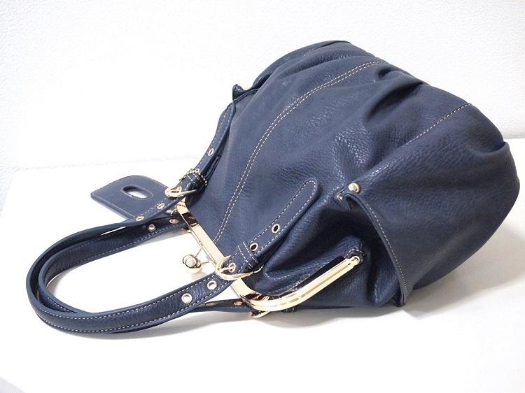 がま口バッグ ショルダーストラップ付 斜め掛け 新品 ネイビー /口金 紺 青 レディース かわいい たくさん入る プレゼント かばん 鞄_画像3
