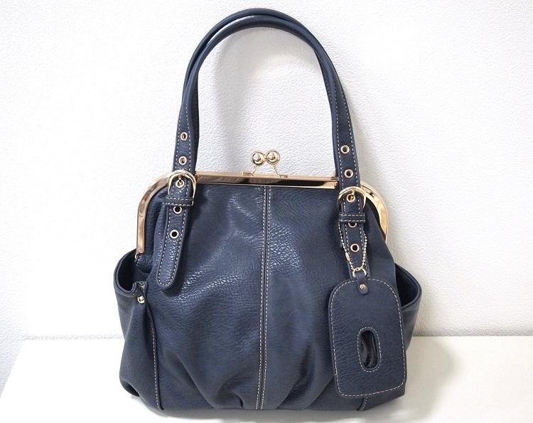 がま口バッグ ショルダーストラップ付 斜め掛け 新品 ネイビー /口金 紺 青 レディース かわいい たくさん入る プレゼント かばん 鞄_画像1