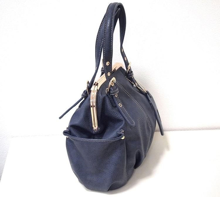 がま口バッグ ショルダーストラップ付 斜め掛け 新品 ネイビー /口金 紺 青 レディース かわいい たくさん入る プレゼント かばん 鞄_画像2