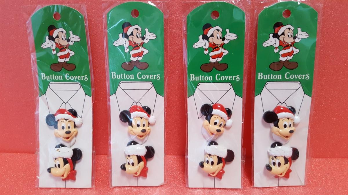 送料290円~ ディズニー マッキーマウス&ミニーマウス(サンタコスチューム) ボタンカバー 4個セット 新品 未使用 手芸 服  ディズニーグッズの画像