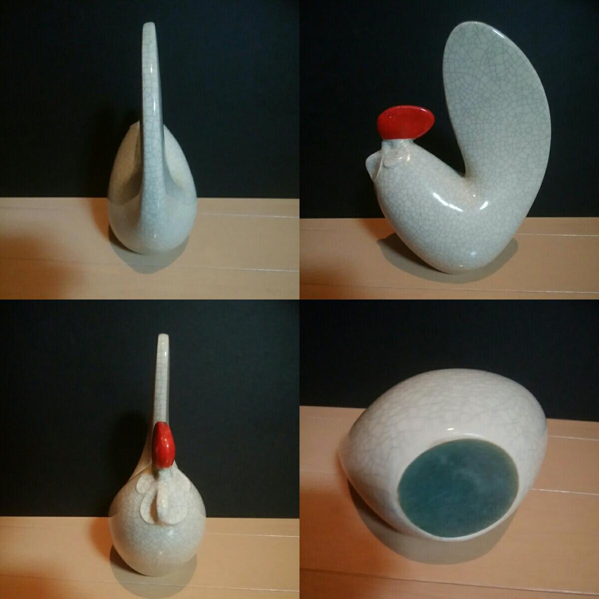 陶器製 干支 鶏 雄鶏 酉 18cm 和風 インテリア 171006 丸みのある目を引く鶏 日本_画像2