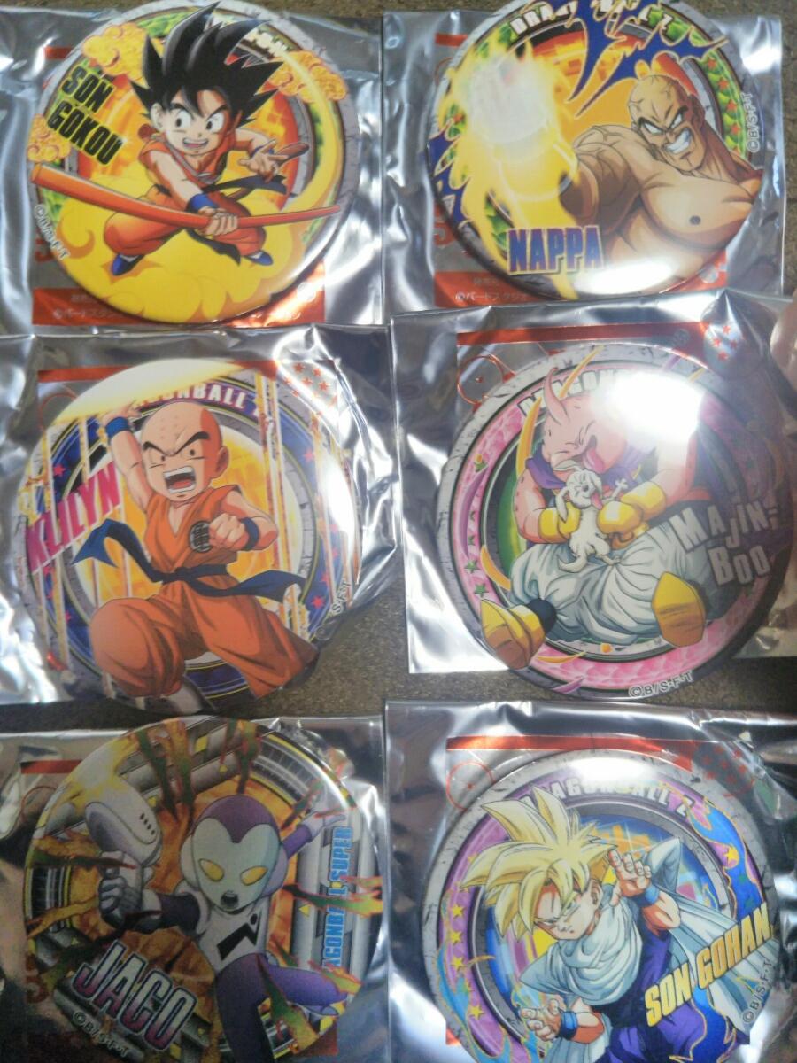 ドラゴンボール ドでか缶バッジ 孫悟空、クリリン、ナッパ、ジャコ、魔人ブウ、孫悟飯 6個セット 未使用 グッズの画像