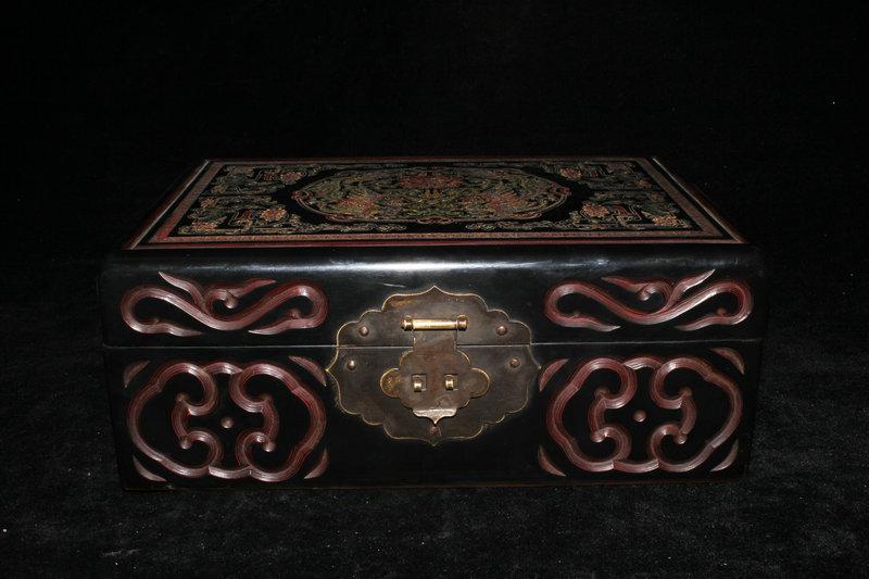 時代唐物 木地漆器漆雕 花紋 首飾盒 飾品盒 置物 希少101624