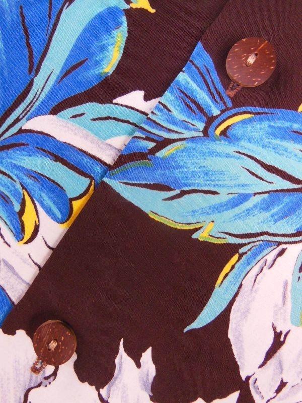 極上50S ビンテージ TROPICANA ダークブラウン花柄長袖レーヨンハワイアンシャツ/M_画像5