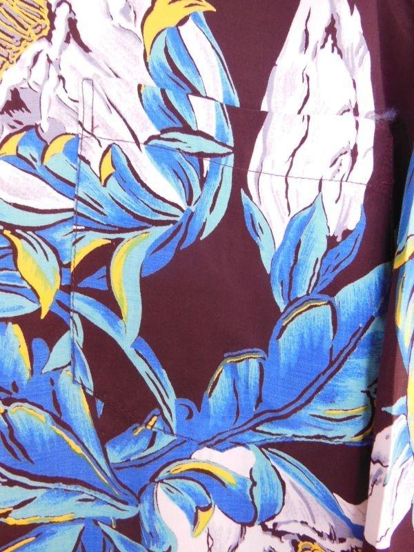 極上50S ビンテージ TROPICANA ダークブラウン花柄長袖レーヨンハワイアンシャツ/M_画像9