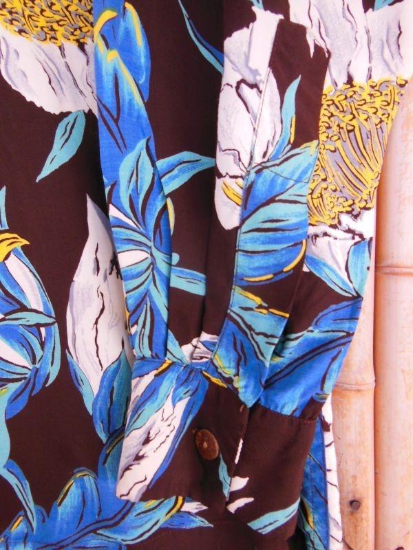 極上50S ビンテージ TROPICANA ダークブラウン花柄長袖レーヨンハワイアンシャツ/M_画像8