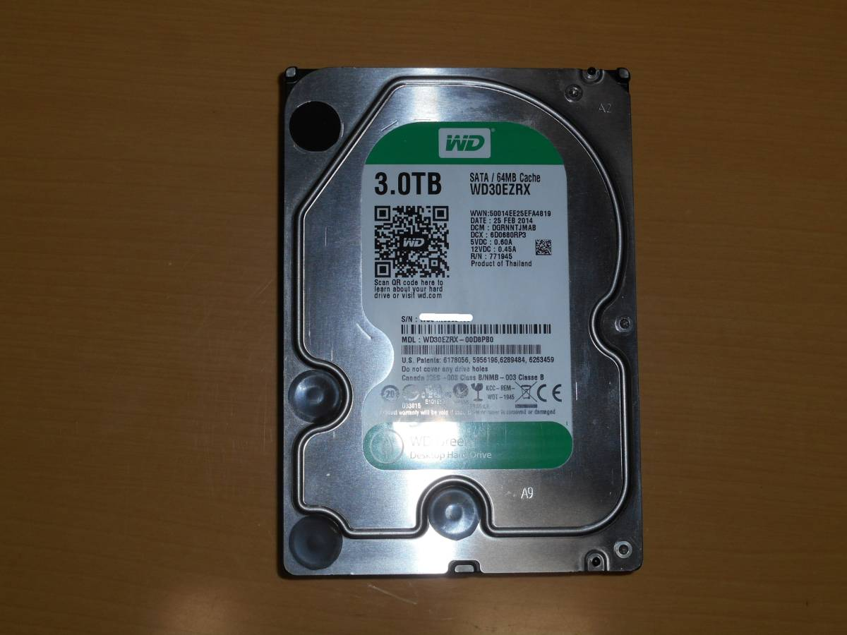 【中古】 Western Digital WD30EZRX-00D8PB0 3TB SATA/600(2014年2月製)#2
