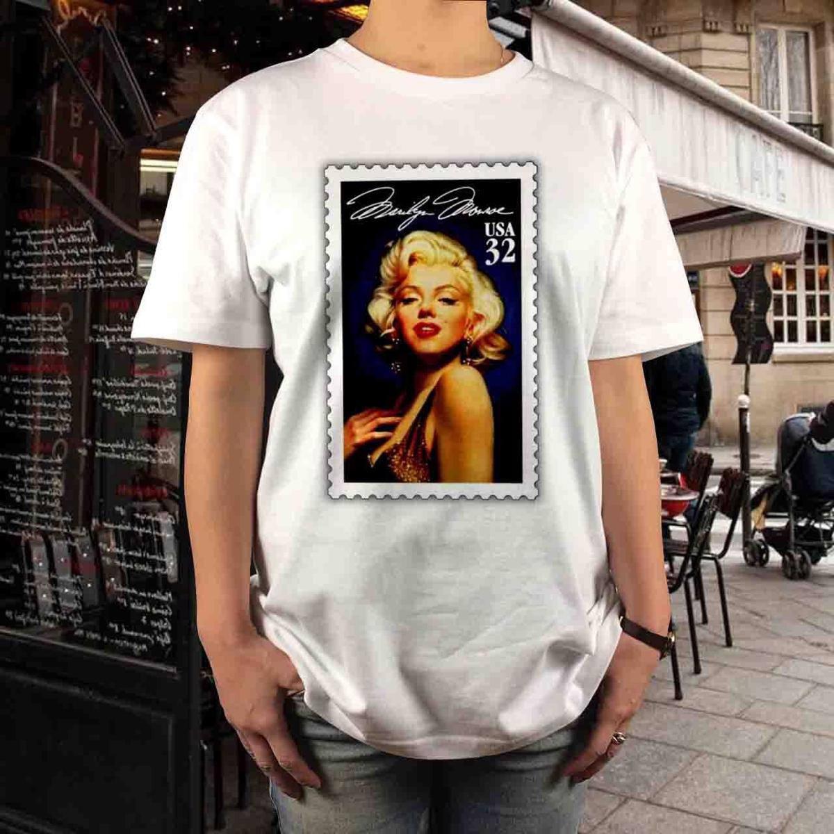 新品 マリリンモンロー 切手 デザイン Tシャツ S M L XL セクシー 大きい ビッグ オーバー サイズ XXL 3XL 4XL 5XL ロンT 長袖 黒対応可 グッズの画像