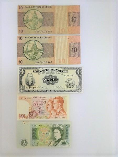 ◇稲宝◇ ブラジル フィリピン イギリス ベルギー 紙幣 5枚まとめ_画像1