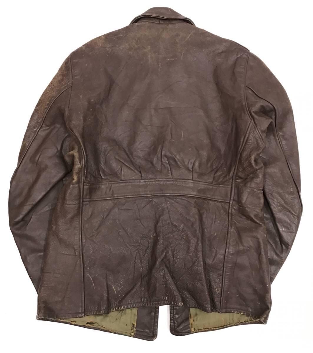 希少 40s ビンテージ レザー カーコート ジャケット 変形ポケット カウレザー スポジャケ 1940年代 ブラウン Sportwear 社_画像2