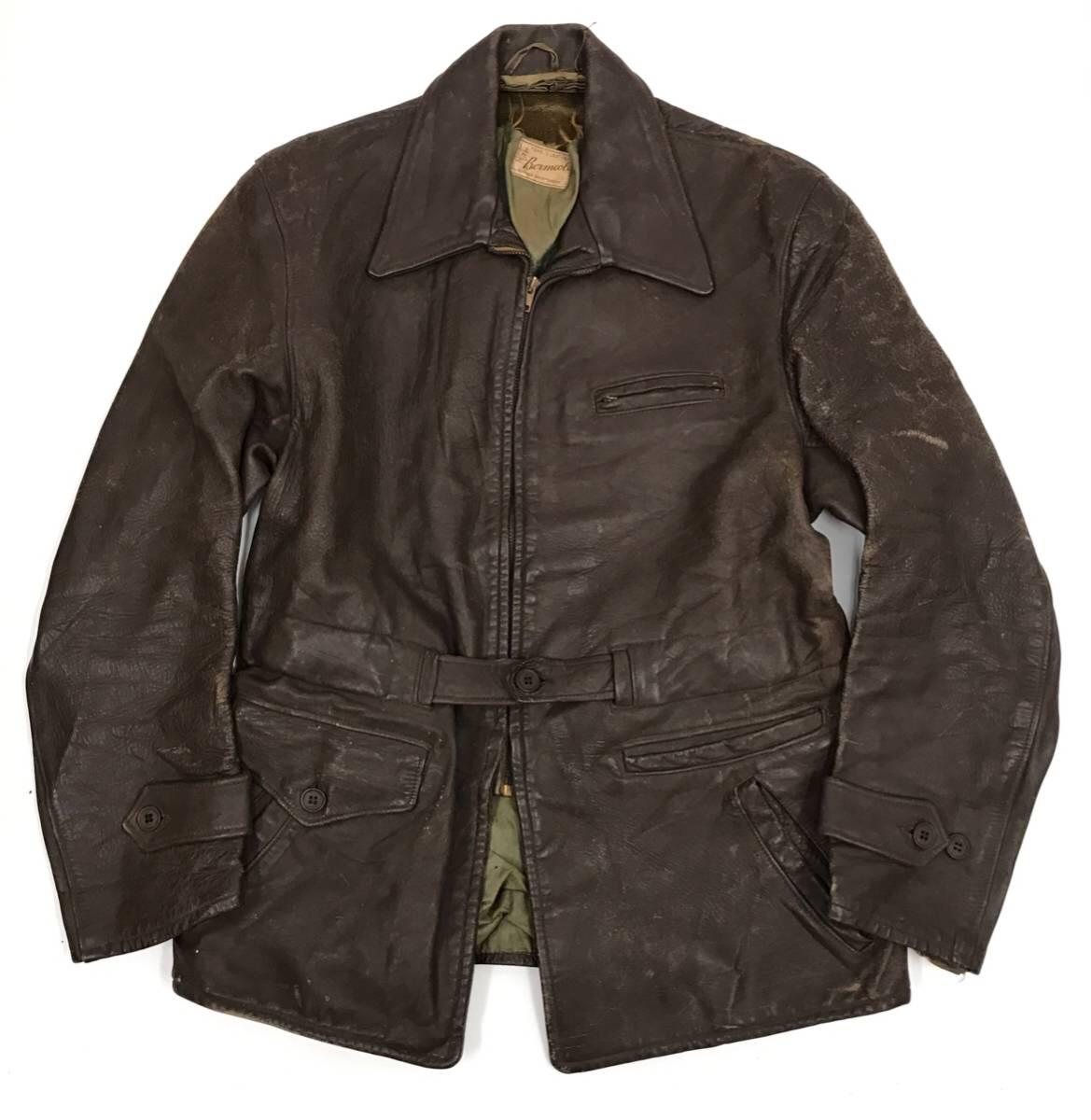 希少 40s ビンテージ レザー カーコート ジャケット 変形ポケット カウレザー スポジャケ 1940年代 ブラウン Sportwear 社