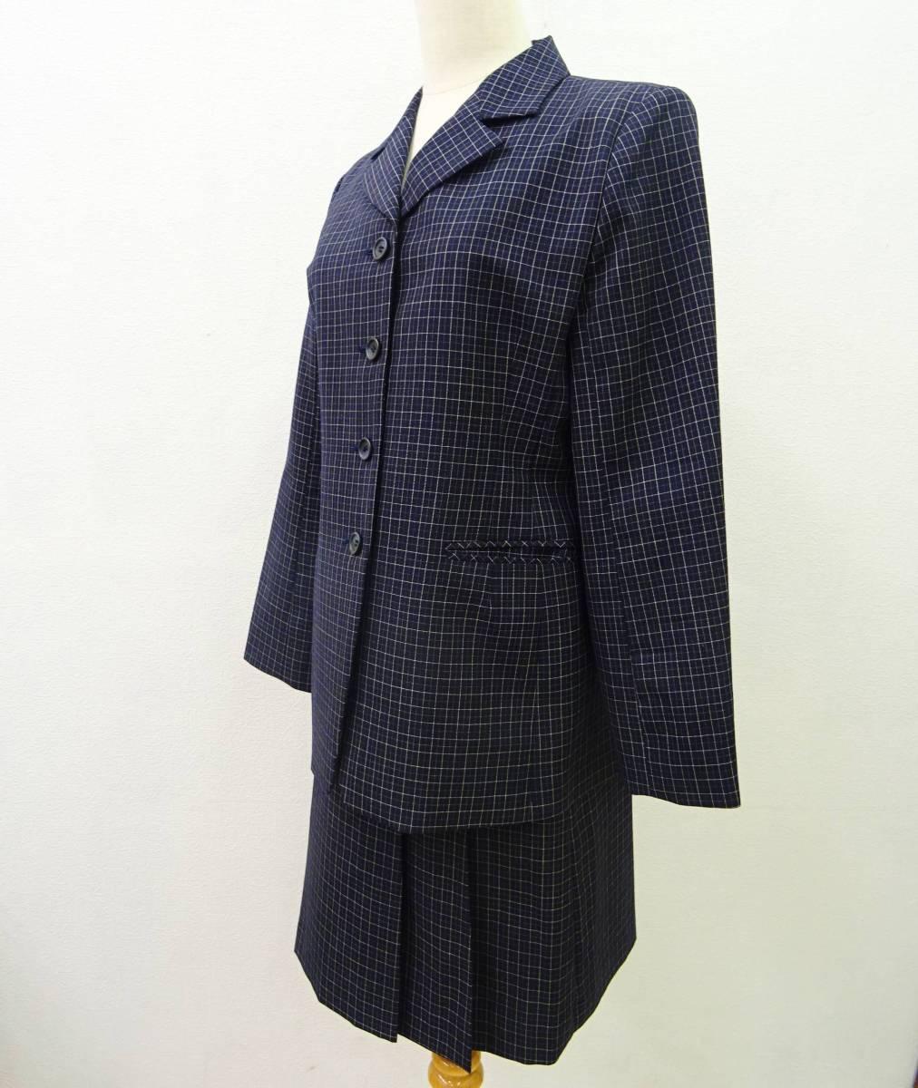 日本製 OLIVE des OLIVE スーツ ジャケット プリーツスカート 膝丈 チェック セットアップ 上下 オリーブデオリーブ 紺 M レディース C811_画像1