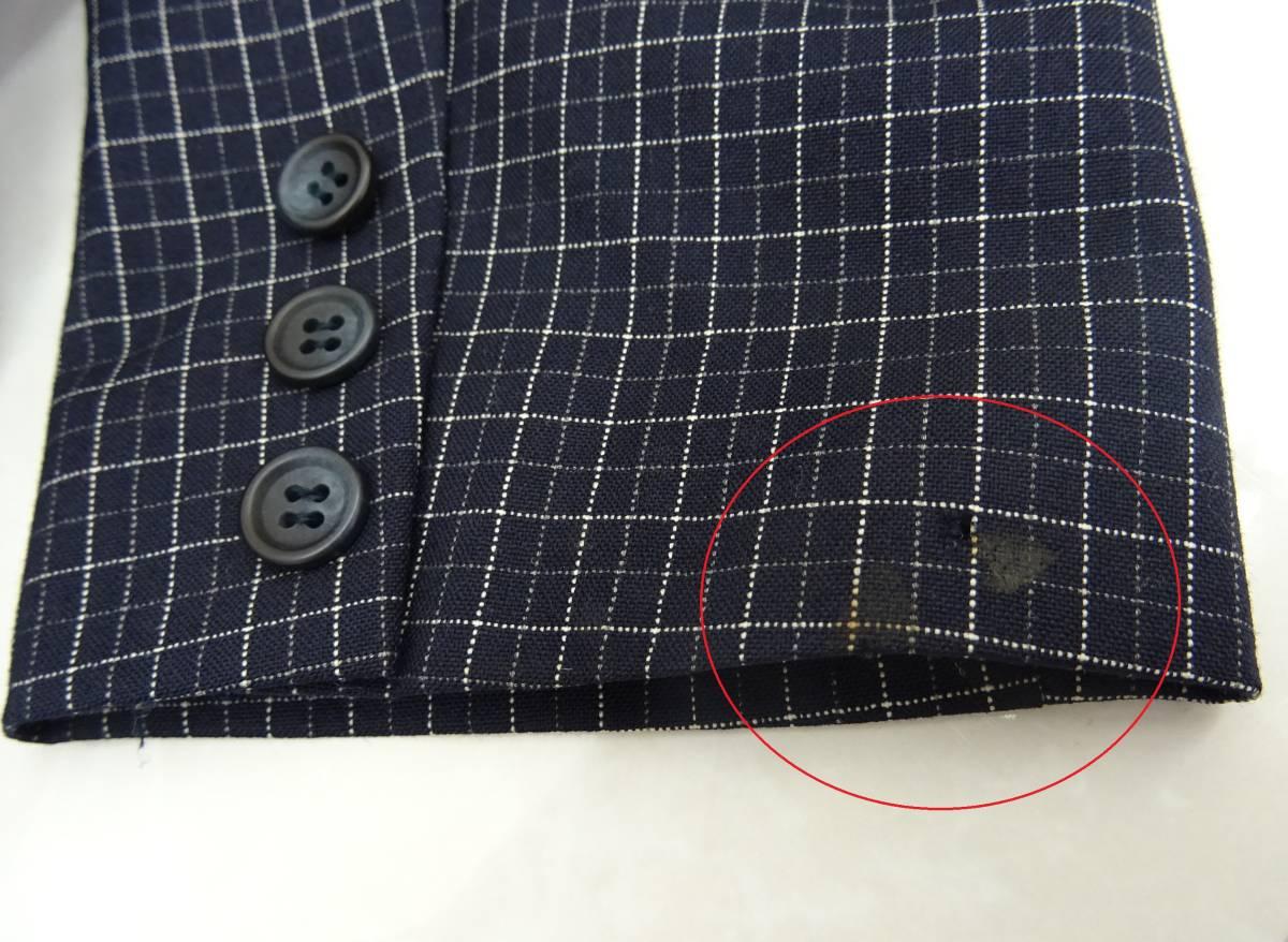 日本製 OLIVE des OLIVE スーツ ジャケット プリーツスカート 膝丈 チェック セットアップ 上下 オリーブデオリーブ 紺 M レディース C811_左袖口 汚れがあります