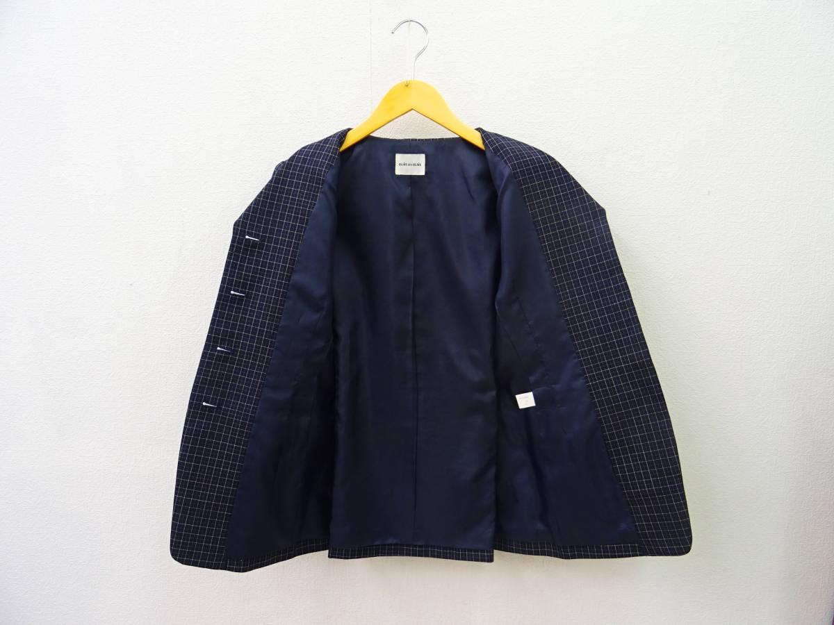 日本製 OLIVE des OLIVE スーツ ジャケット プリーツスカート 膝丈 チェック セットアップ 上下 オリーブデオリーブ 紺 M レディース C811_画像5