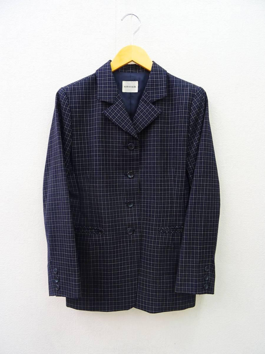 日本製 OLIVE des OLIVE スーツ ジャケット プリーツスカート 膝丈 チェック セットアップ 上下 オリーブデオリーブ 紺 M レディース C811_画像3