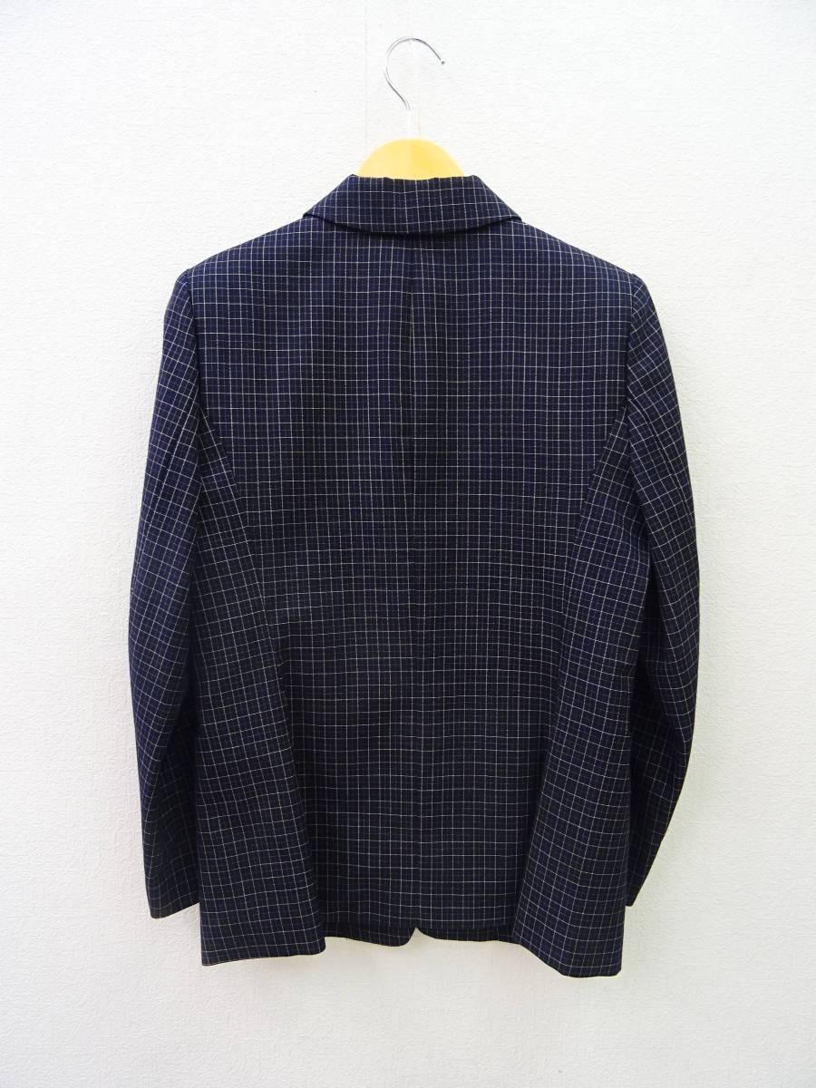 日本製 OLIVE des OLIVE スーツ ジャケット プリーツスカート 膝丈 チェック セットアップ 上下 オリーブデオリーブ 紺 M レディース C811_画像4