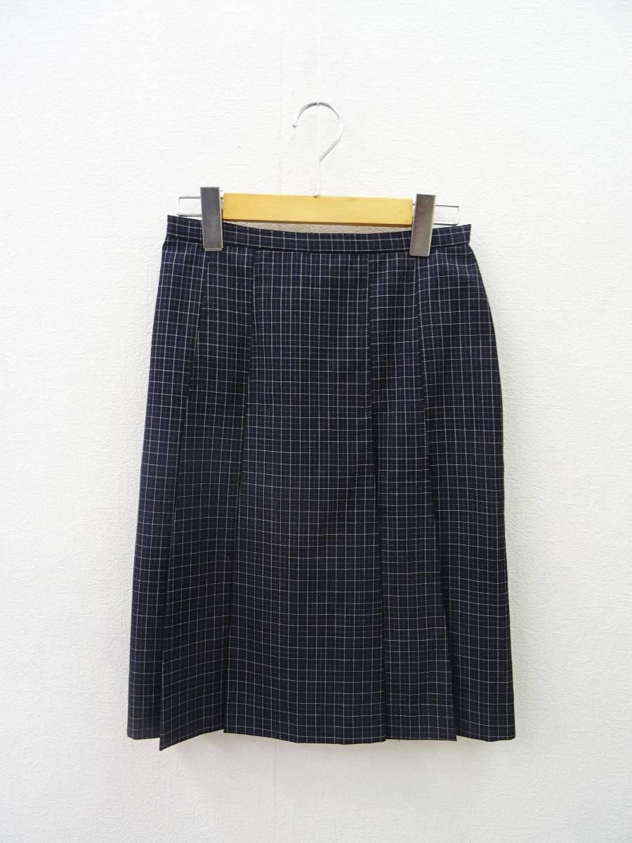 日本製 OLIVE des OLIVE スーツ ジャケット プリーツスカート 膝丈 チェック セットアップ 上下 オリーブデオリーブ 紺 M レディース C811_画像6