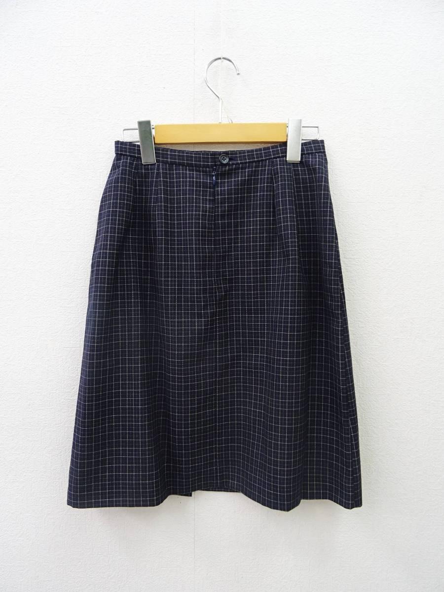 日本製 OLIVE des OLIVE スーツ ジャケット プリーツスカート 膝丈 チェック セットアップ 上下 オリーブデオリーブ 紺 M レディース C811_画像7