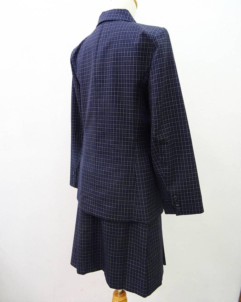 日本製 OLIVE des OLIVE スーツ ジャケット プリーツスカート 膝丈 チェック セットアップ 上下 オリーブデオリーブ 紺 M レディース C811_画像2