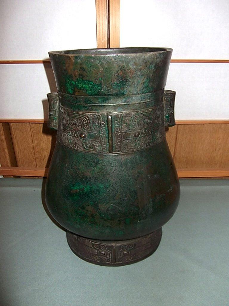 中国美術 古銅 唐銅 花器 詳細不明
