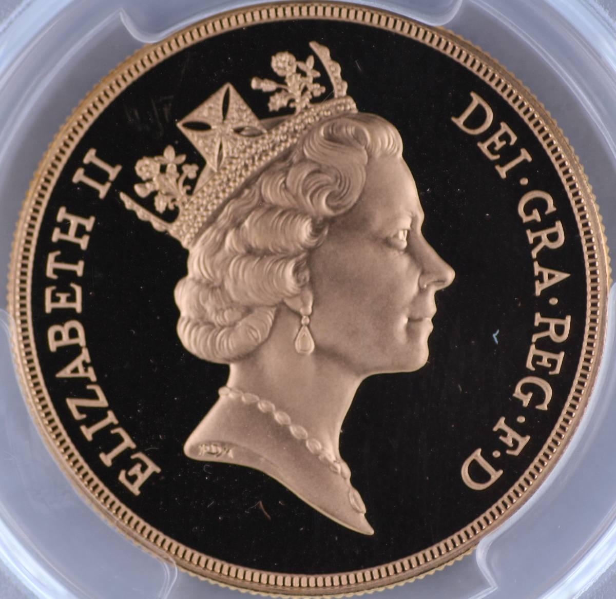 イギリス 5ポンド金貨 プルーフ 1996年 エリザベス2世 セントジョージ PR69 DEEP CAMEO PCGS 大型金貨 重量金貨 ずっしりくる重さ