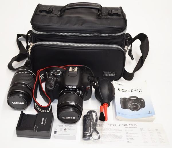 超美品 Canon キャノン EOS Kiss X5 ダブルズームキット デジタル一眼レフカメラ