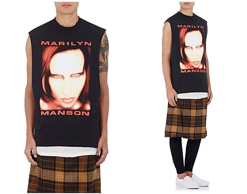 希少 XLサイズ 新品 本物 Purpose Tour × Fear Of God × Barneys NewYork ノースリーブ Tシャツ Marilyn Manson