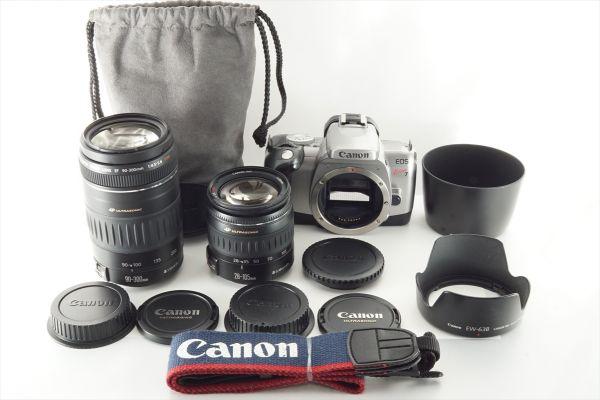 [いろいろセット] Canon EOS Kiss 7 28-105mm 90-300mm 純正フード ケース ストラップ 一部難あり #8000991