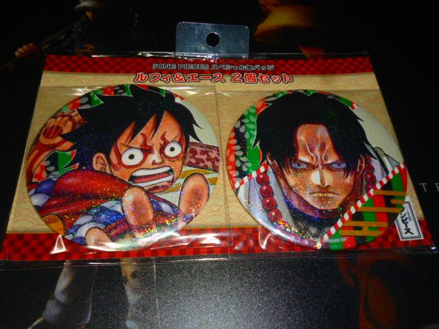 限定 麦わらストア ワンピース スーパー歌舞伎 スペシャル 缶バッジ ルフィ&エース グッズの画像
