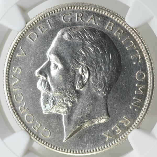 イギリス 1927 ジョージ5世 1/2クラウン銀貨 NGC鑑定 PF63 ハーフクラウン