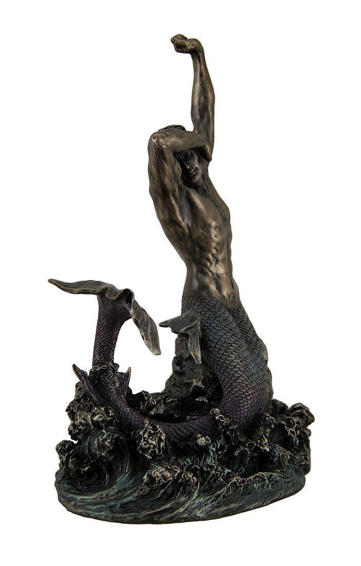岩の上のマーマン マーメイド(人魚) 西洋彫刻 彫像 ブロンズ風/Merman Stretching on Rock Sculpture(輸入品_画像3