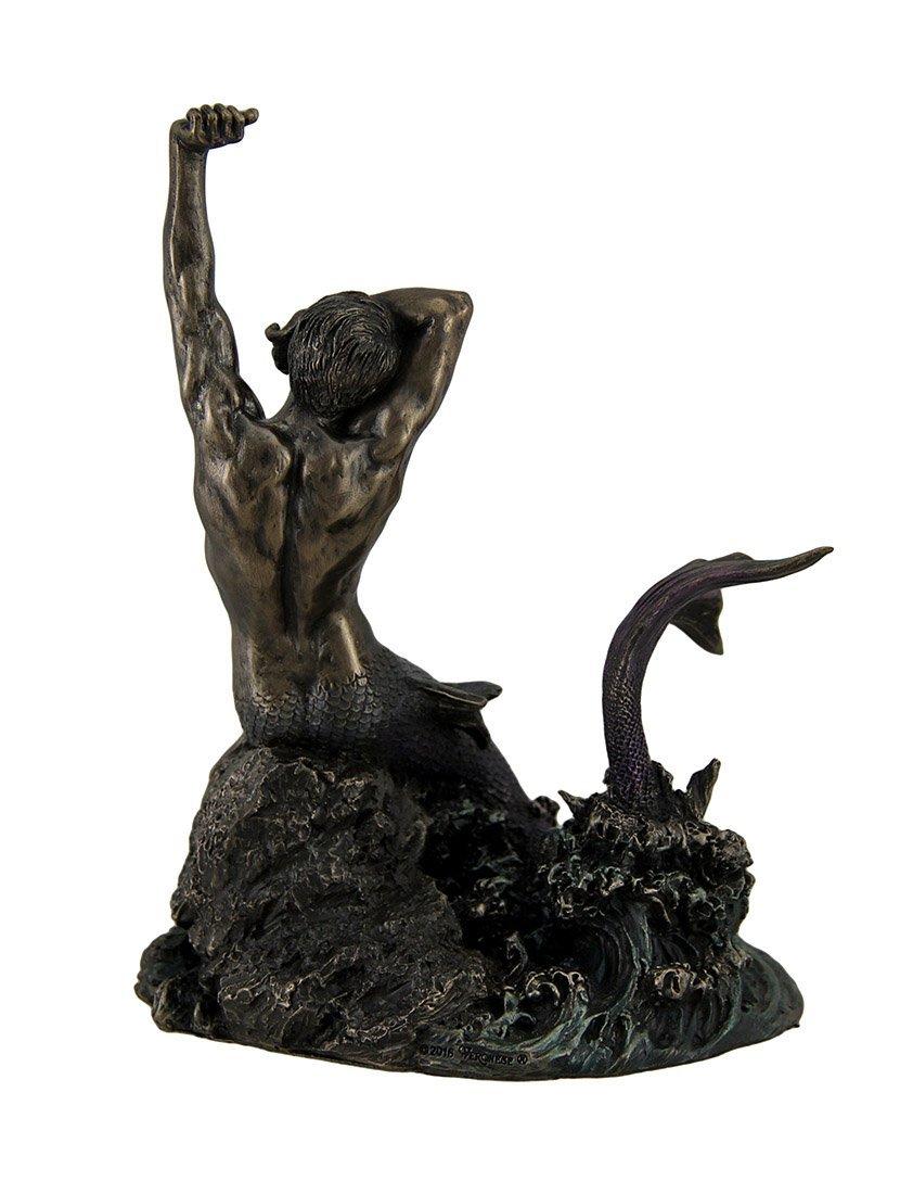 岩の上のマーマン マーメイド(人魚) 西洋彫刻 彫像 ブロンズ風/Merman Stretching on Rock Sculpture(輸入品_画像4