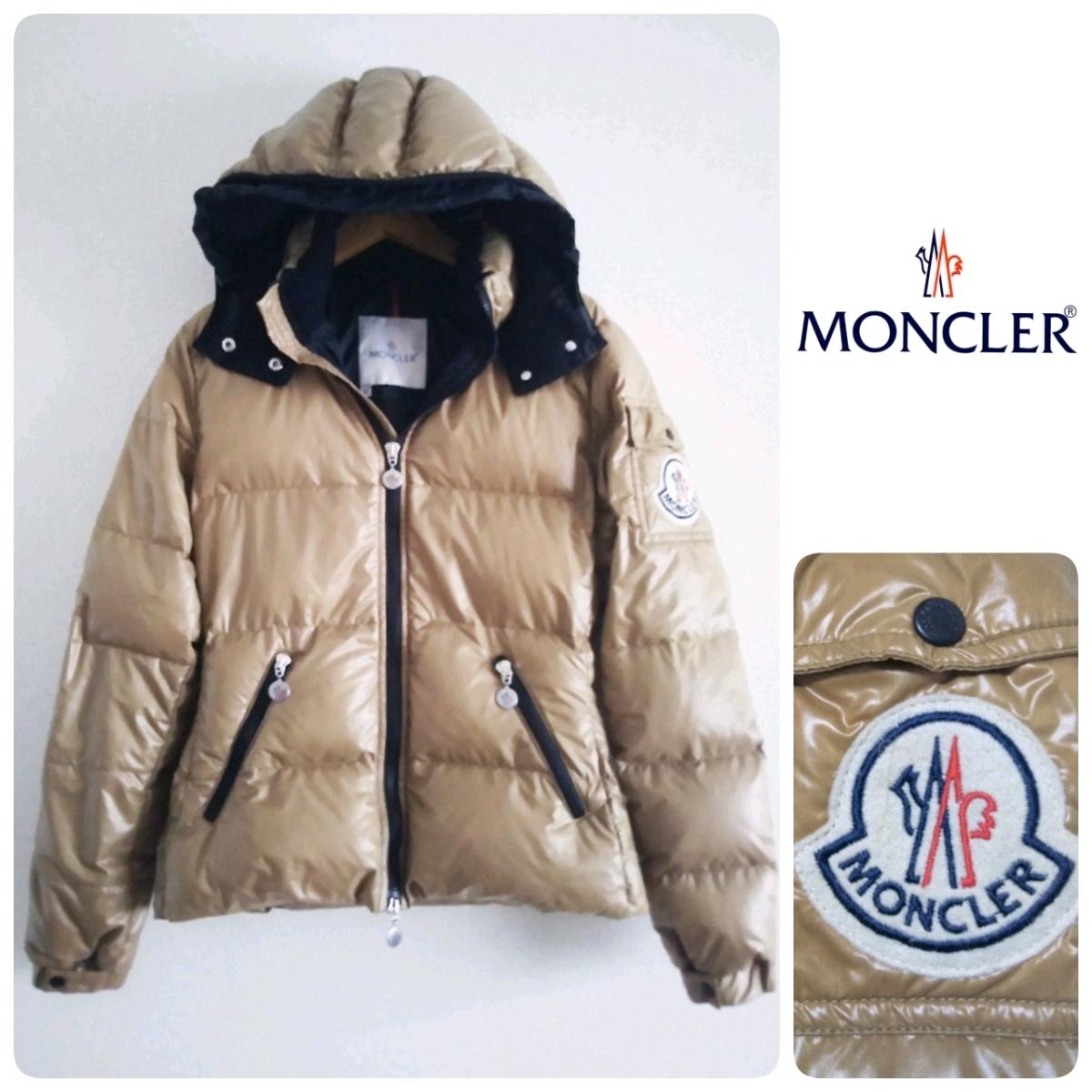 MONCLER モンクレール 人気バディア ビッグ刺繍ロゴ ワッペン フード付 ダウンジャケット ダウン90% 国内正規品 サイズ0 ベージュ 美品