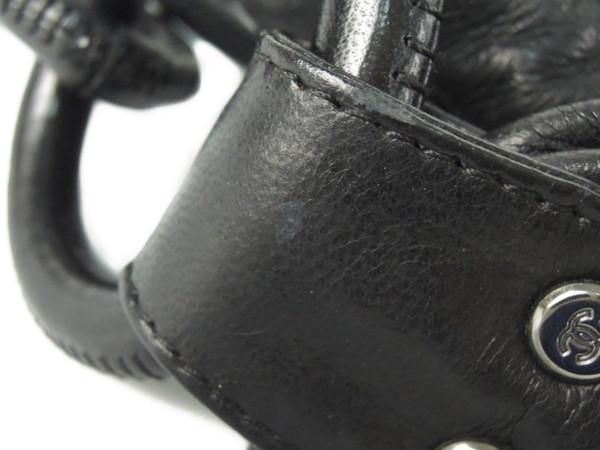 シャネル CHANEL プリーツ レザー チェーン ショルダー バッグ ブラック Y2702179_画像8