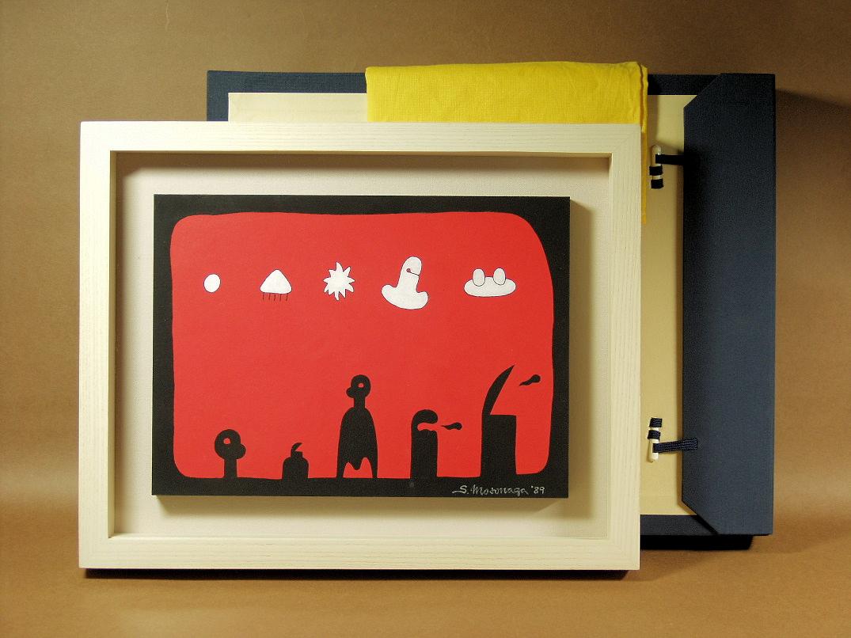 元永定正 「しろがいつつ (1989年)」 アクリル画 額装4号 共箱 独特の世界観が広がる1