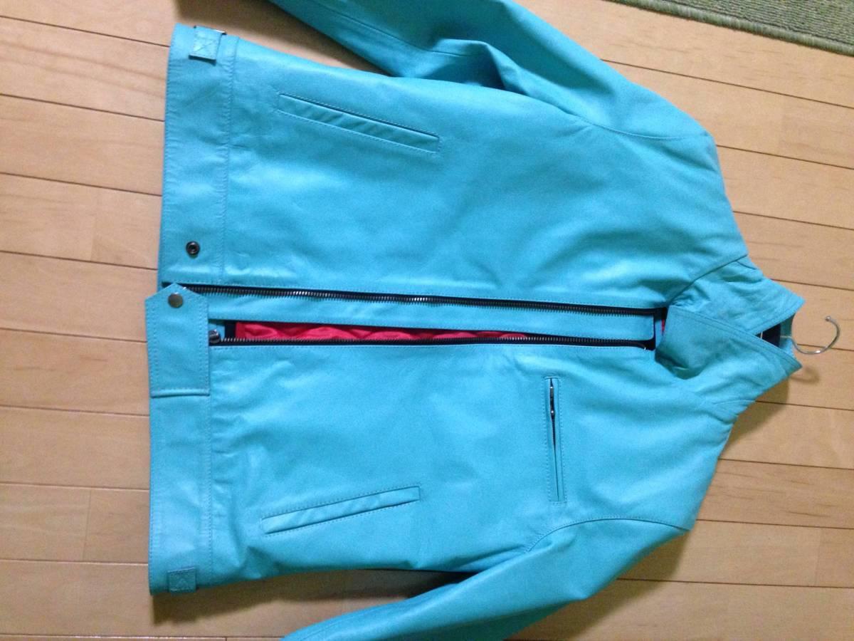 レザージャケット(ライダージャケット)革ジャン カラー:ターコイズ