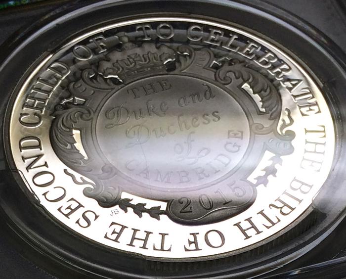 英国 イギリス エリザベス2世 シャーロット王女 生誕記念 洗礼記念 5ポンド銀貨 PCGS PR69DCAM プルーフ2点セット 2015年_画像5