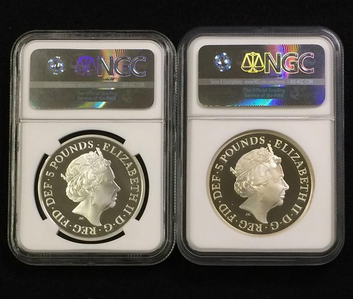 英国 イギリス エリザベス サファイアジュビリー 5ポンド銀貨 ピエフォー PIEFORT銀貨 2点セット NGC PF68 ULTRA CAMEO オリジナルケース_画像2