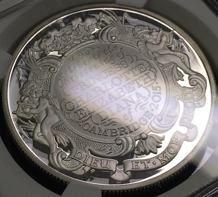 英国 イギリス エリザベス2世 シャーロット王女生誕記念 5ポンド銀貨 NGC PF70 ULTRA CAMEO プルーフ 2015年_画像4