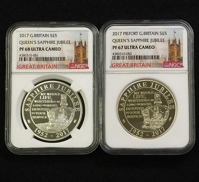 英国 イギリス エリザベス サファイアジュビリー 5ポンド銀貨 ピエフォー PIEFORT銀貨 2点セット NGC PF68 ULTRA CAMEO オリジナルケース