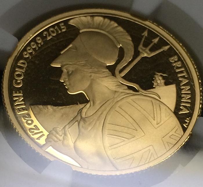 英国 イギリス ブリタニア エリザベス プルーフ金貨 3枚セット 2015年 50ポンド 25ポンド 10ポンド NGC PF70 ULTRA CAMEO_画像3