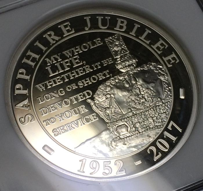 英国 イギリス エリザベス サファイアジュビリー 5ポンド銀貨 ピエフォー PIEFORT銀貨 2点セット NGC PF68 ULTRA CAMEO オリジナルケース_画像4