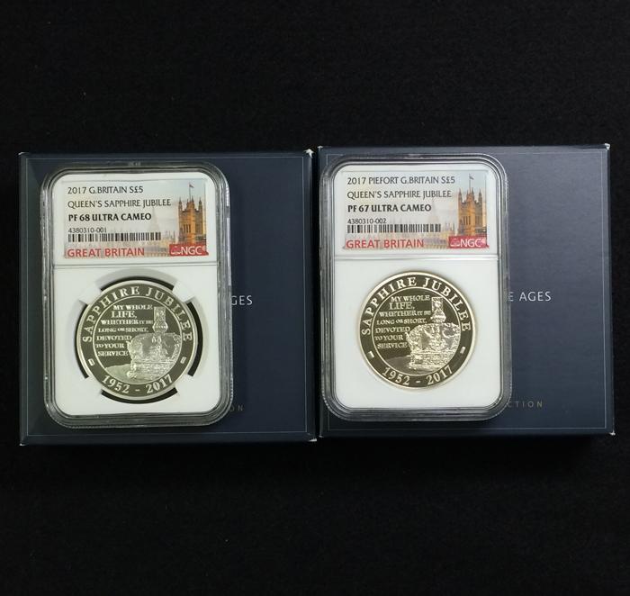 英国 イギリス エリザベス サファイアジュビリー 5ポンド銀貨 ピエフォー PIEFORT銀貨 2点セット NGC PF68 ULTRA CAMEO オリジナルケース_画像3
