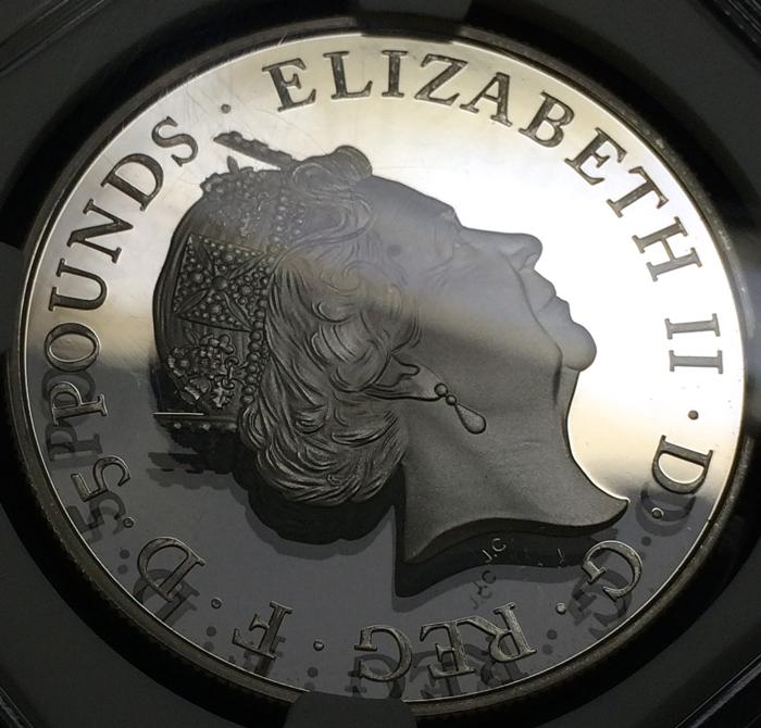 英国 イギリス エリザベス2世 シャーロット王女生誕記念 5ポンド銀貨 NGC PF70 ULTRA CAMEO プルーフ 2015年_画像3