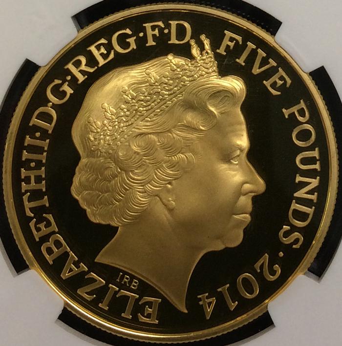 英国 イギリス エリザベス2世 アン女王没後300年記念 5ポンド銀貨 GILT 純金メッキ ゴールドギルト NGC PF70 ULTRA CAMEO プルーフ 2014年_画像2
