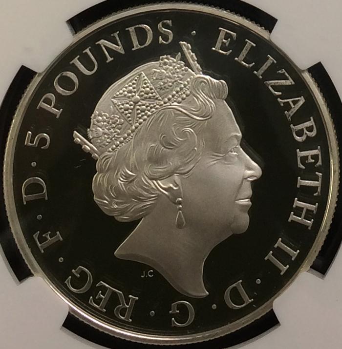 英国 イギリス エリザベス2世 シャーロット王女生誕記念 5ポンド銀貨 NGC PF70 ULTRA CAMEO プルーフ 2015年_画像2